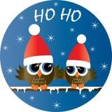 Feste felici di Buon Natale due gufi svegli illustrazione vettoriale