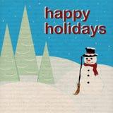 Feste felici - pupazzo di neve - documento invecchiato Fotografie Stock Libere da Diritti