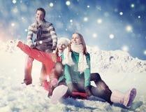 Feste nel concetto allegro di divertimento di felicità della neve Immagine Stock Libera da Diritti