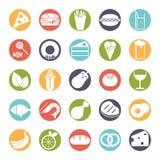 Feste runde Ikonen des Lebensmittels Farbeingestellt lizenzfreie abbildung