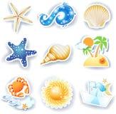Feste sulla spiaggia, insieme delle icone di vettore Immagini Stock