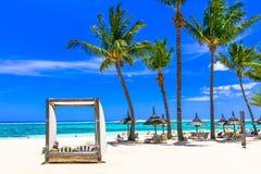 Feste tropicali di Lasy spiaggia sabbiosa bianca nell'isola delle Mauritius immagine stock
