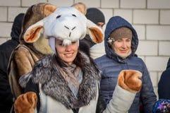 Festeggiamenti sul giorno di Natale in Homiel' Immagine Stock Libera da Diritti