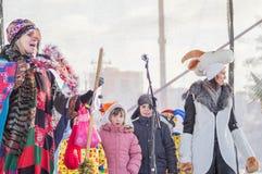 Festeggiamenti sul giorno di Natale in Homiel' Fotografia Stock