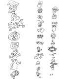 Festeje el lomo de los iconos que colorea a los niños chistosos para los libros y que los enseña Imagen de archivo libre de regalías