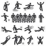 Fester Ikonensatz der Fußball- und Fußballspieleraktion stock abbildung