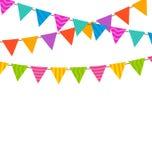 Festões coloridas ajustadas das bandeiras das estamenhas Fotografia de Stock