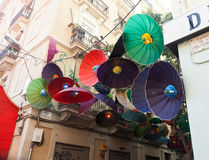 Festes de Gracia i Barcelona, Catalonia Royaltyfri Bild