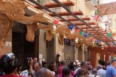 Festes de Gracia i Barcelona, Spanien Royaltyfri Bild