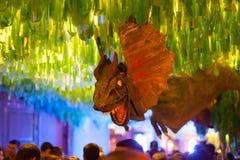 Festes de Gracia i natt. Barcelona Arkivfoto