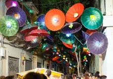 Festes de Gracia i natt i Barcelona Royaltyfri Fotografi