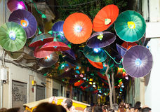 Festes de Gracia in night in Barcelona Royalty Free Stock Photography