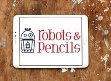 Festes Logo der Roboter und der Bleistifte Lizenzfreie Stockfotografie