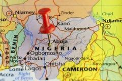 Festgesteckte Karte Nigeria-Kapitols Abuja Lizenzfreie Stockfotografie