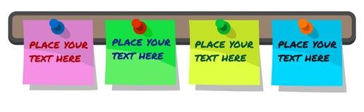 Festgesteckte Papieranmerkungen, Aufkleberhaftnotiz auf Korkenbrett, Blau, Rosa, gelb und grün mit Beispieltext mit Dauerhaftem lizenzfreie abbildung