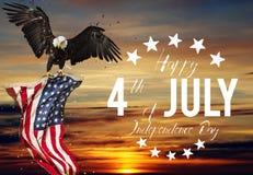 Festin américain le 4ème juillet Aigle chauve avec l'indicateur américain Photographie stock libre de droits