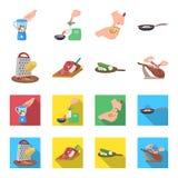 Festin, appareil, outil et toute autre icône de Web dans la bande dessinée, style plat le cuisinier, femme au foyer, remet des ic illustration stock