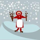 Festin de saint Barbara - branches de port de fille d'un arbre fruitier dans un paysage neigeux Images libres de droits