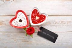 Festin doux pour le jour de valentines avec la carte pour le texte Photo libre de droits