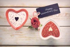 Festin doux pour le jour de valentines avec la carte pour le texte Images stock