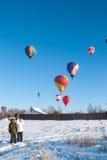 Festivaläpplen i snön 2015 Arkivfoton