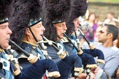 Festival 2009 de Edimburgo: Gaiteros escoceses en el PA Fotografía de archivo libre de regalías