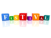 Festival in 3d cubes. 3d colourful cubes with letters makes festival Royalty Free Stock Photos