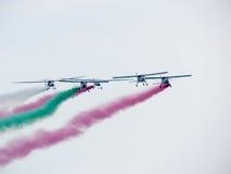 Festival aéreo Tricolor das setas Tirrenia, Pisa, Itália, o 11 de setembro, 2 Fotos de Stock