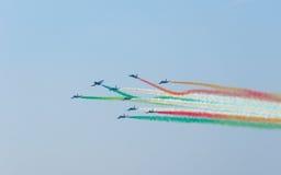 Festival aéreo Tricolor das setas Tirrenia, Pisa, Itália, o 11 de setembro, 2 Imagem de Stock
