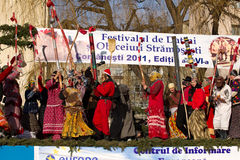 Festival ancestral customs and traditions. From Comanesti, Bacau, 30 december 2011 Royalty Free Stock Photography