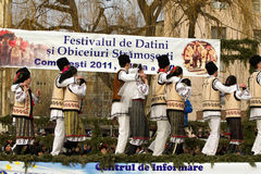 Festival ancestral customs and traditions. From Comanesti, Bacau, 30 december 2011 Royalty Free Stock Images