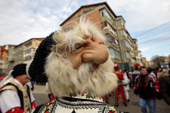 Festival ancestral customs and traditions. Hideous mask meant to ward off evil spirits at festival ancestral customs and traditions from Comanesti, Bacau, 30 Stock Photos