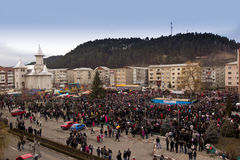 Festival ancestral customs and traditions. A panoramic view of festival ancestral customs and traditions from Comanesti, Bacau, 30 december 2011 Stock Image