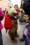 Festival ancestral customs and traditions. A child with a bearskin backstage at festival ancestral customs and traditions from Comanesti, Bacau, 30 december 2011 Stock Image