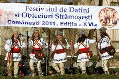 Festival ancestral customs and traditions. A band Jianu at Festival ancestral customs and traditions from Comanesti, Bacau, 30 december 2011 Stock Photos