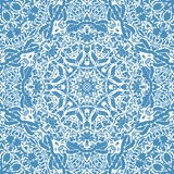 Festival art seamless mandala pattern. Ethnic geometric print.. Blue frame background Vector illustration Royalty Free Stock Photo