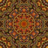 Festival art seamless mandala pattern. Ethnic geometric print.. Orange brown frame background Vector illustration Royalty Free Stock Images