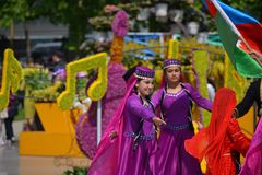 Festival av blommor i den Baku staden, Azerbajdzjan Arkivfoto