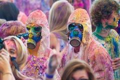 Festival av färg Holi ett parti Arkivfoton