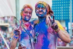 Festival av färg Holi ett parti Arkivbilder