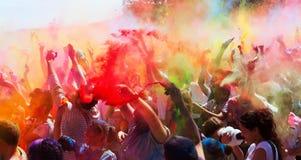Festival av färger Holi Barcelona royaltyfri fotografi