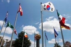 Festival av flaggor från många länder Arkivbild