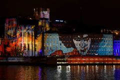 Festival av ljus 2015 i Lyon Fotografering för Bildbyråer