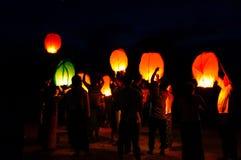 Festival av ljus i Myanmar Arkivbilder