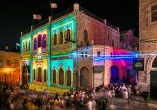 Festival av ljus, laser-show Israel Jerusalem, den gamla staden, Royaltyfria Foton