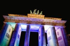 Festival av ljus på den Brandenburg porten, Berlin, Tyskland Fotografering för Bildbyråer