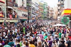 Festival av tjurar och hästar i Segorbe, Spanien royaltyfria bilder