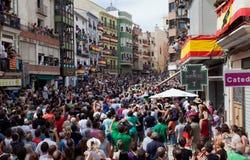 Festival av tjurar och hästar i Segorbe, Spanien arkivbilder