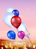 Festival background. Toy balloons soaring in the sky Stock Image