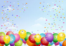 Festival background with balloons on the blue sky. Festival background with colorful balloons and scattered confetti. Celebration.About A4 sized art board Royalty Free Stock Photos